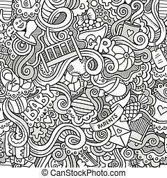 Cartoon vector doodle children seamless pattern