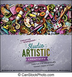 Cartoon vector doodles Art horizontal stripe card