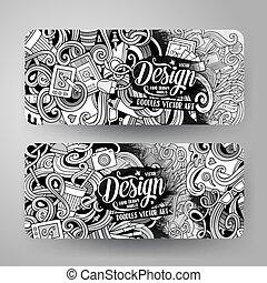 Cartoon vector doodles artistic banners