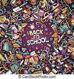 Cartoon vector doodles Back to school frame