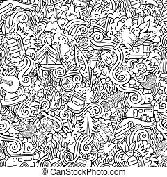 Cartoon vector doodles camping seamless pattern