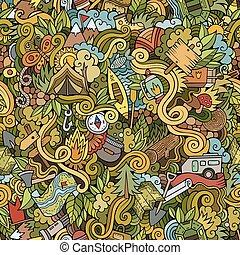 Cartoon vector doodles camping seamless pattern - Cartoon...