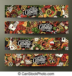 Cartoon vector doodles casino banners - Cartoon cute...