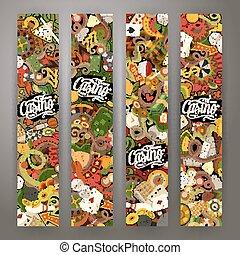 Cartoon vector doodles casino banners