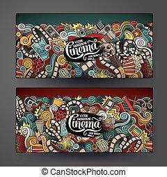 Cartoon vector doodles cinema banners