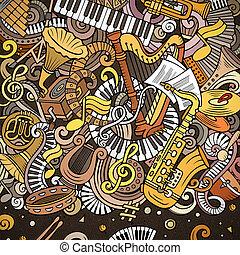 Cartoon vector doodles Classic music frame. Bright colors...