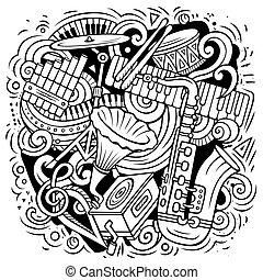 Cartoon vector doodles Classic music illustration
