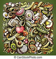 Cartoon vector doodles Diet food illustration