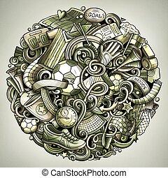 Cartoon vector doodles Football illustration