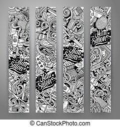 Cartoon vector doodles Hair salon banners