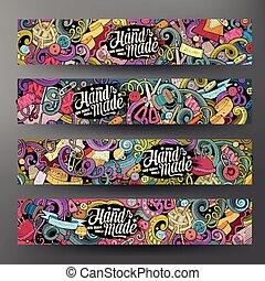 Cartoon vector doodles handmade banners