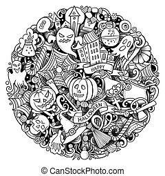 Cartoon vector doodles Happy Halloween illustration. Outline funny round picture