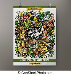 Cartoon vector doodles Hawaii poster template.