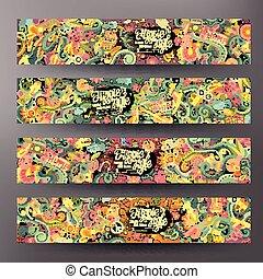 Cartoon vector doodles hippie banners