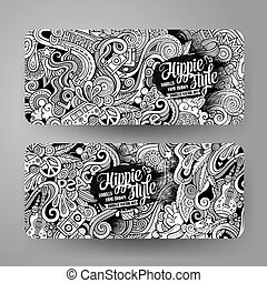 Cartoon vector doodles hippie banners
