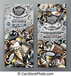 Cartoon vector doodles ice cream banners - Cartoon cute ...