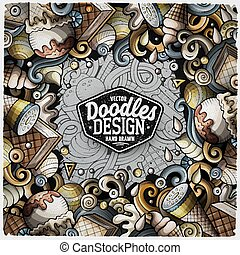 Cartoon vector doodles Ice Cream frame
