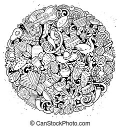 Cartoon vector doodles Latin America illustration - Cartoon...