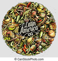 Cartoon vector doodles Latin America illustration - Cartoon...