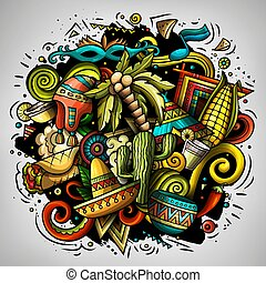 Cartoon vector doodles Latin America illustration. Colorful,...