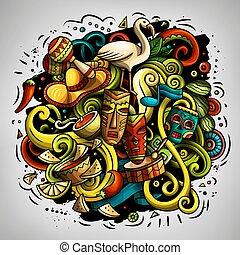 Cartoon vector doodles Latin America illustration. Colorful,...