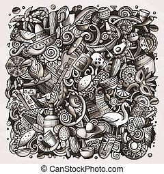 Cartoon vector doodles Latin America illustration. Toned...