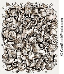 Cartoon vector doodles Latin America illustration. Monochrome detailed, with lots of objects background. All objects separate. Toned latinamerican funny picture