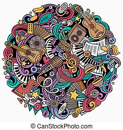 Cartoon vector doodles Music illustration. Colorful,...