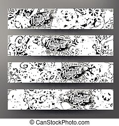 Cartoon vector doodles nautical 4 Horizontal banners