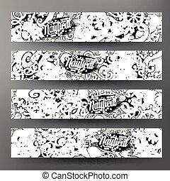Cartoon vector doodles nautical 4 Horizontal banners