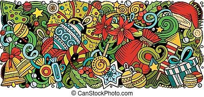 Cartoon vector doodles New Year horizontal stripe illustration
