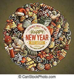Cartoon vector doodles New Year illustration. Colorful, ...