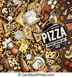 Cartoon vector doodles Pizza frame. Colorful, detailed, with...