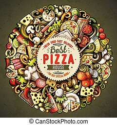 Cartoon vector doodles Pizza illustration - Cartoon vector ...