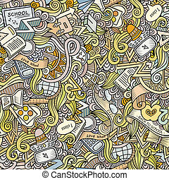 Cartoon vector doodles school seamless pattern