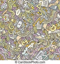 Cartoon vector doodles school seamless pattern