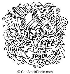 Cartoon vector doodles Space illustration. Line art,...