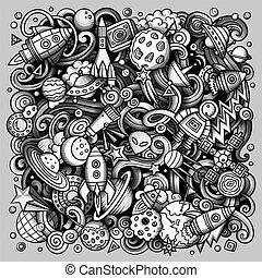 Cartoon vector doodles Space illustration. Toned cosmic...