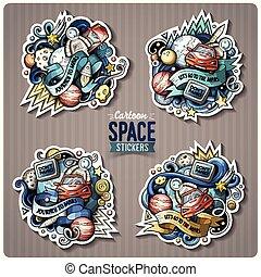 Cartoon vector doodles Space stickers set
