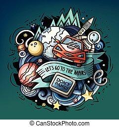 Cartoon vector doodles Space trendy illustration