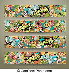 Cartoon vector doodles summer banners