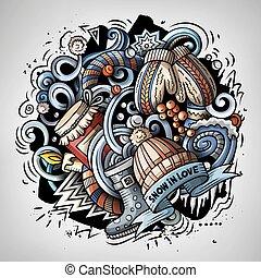 Cartoon vector doodles Winter illustration. Colorful,...