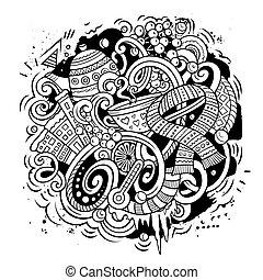 Cartoon vector doodles Winter illustration. Line art,...