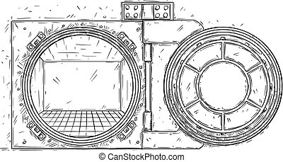 Cartoon Vector Drawing of Open Empty Vault Door
