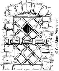 Cartoon Vector Drawing of Wooden Medieval Door Closed by...