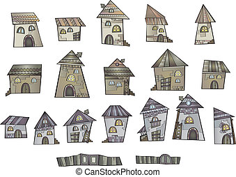 Cartoon vector fairy tale drawing houses