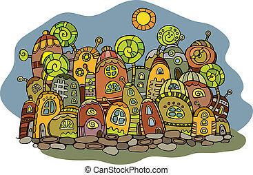 Cartoon vector fairy tale drawing town