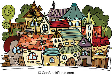Cartoon vector fairy tale drawing town. - Illustration of ...