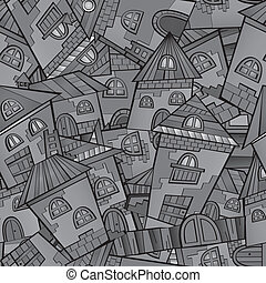 Cartoon vector fairy tale drawing town