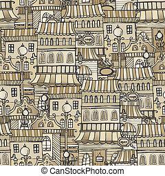 vintage houses seamless pattern